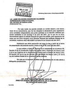 Oficio de solicitud de licencia de Alejandro Reyna Aguilar