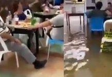 ¡Les vale! Se inunda bar por lluvias y clientes siguen tomando